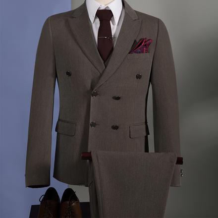 男士修身双排扣西服套装