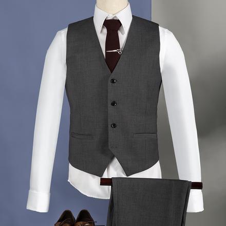 男士英伦修身结婚马甲套装