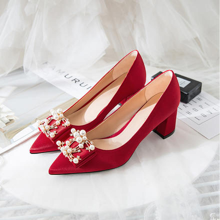 珍珠方扣粗跟缎面舒适新娘婚鞋