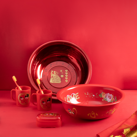 陪嫁用中国红双喜盆