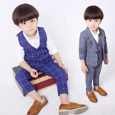 【送领带】韩版儿童格子西装三件套礼服