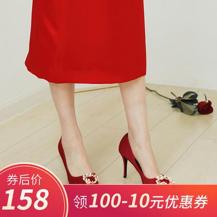 酒红色圆扣珍珠新娘高跟婚鞋