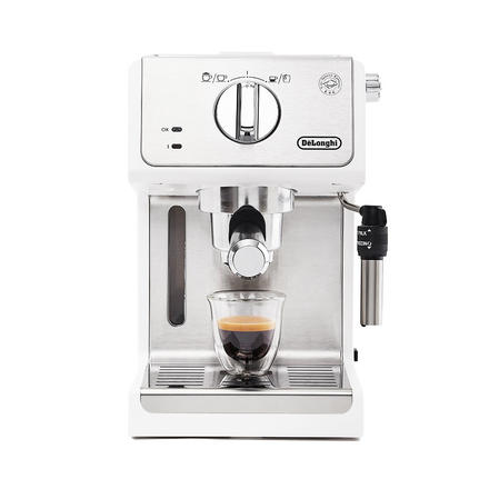 德龙(Delonghi)意式浓缩半自动家用咖啡机 白色