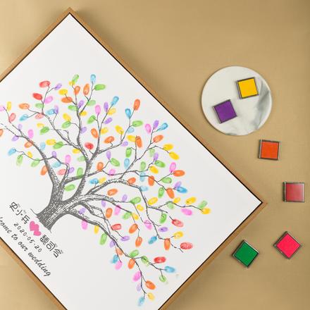 【免费定制】一树情深婚礼指纹签到本