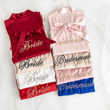 伴你出嫁新娘伴娘刺绣丝绸睡衣派对睡袍
