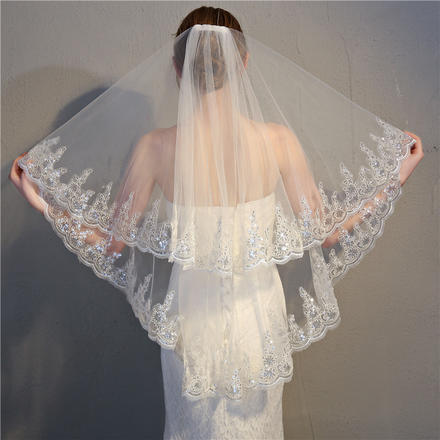 韩式精美亮片蕾丝花边新娘头纱