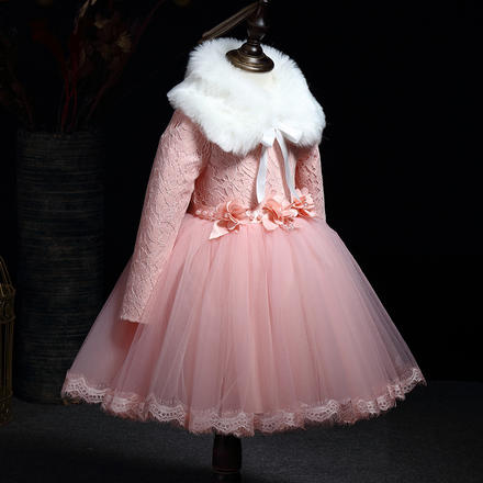 【送毛领+腰带】秋冬长袖超洋气蓬蓬纱可爱公主裙