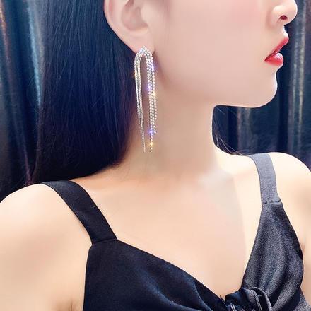 超仙镶钻925银针长款新娘流苏耳坠