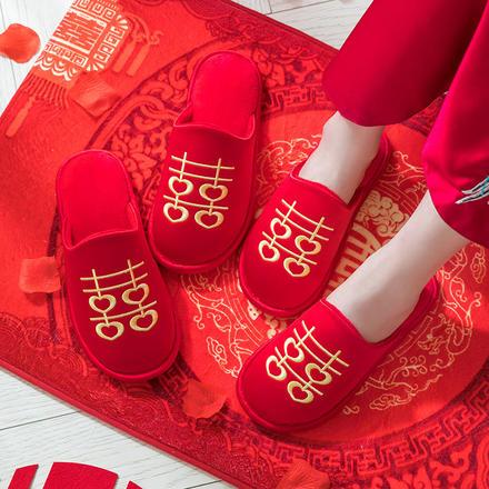 龙凤与飞白菜网免费领取体验金棉拖红色喜一对防滑软底保暖拖鞋