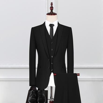 【送衬衫领结领带】新款男士新郎韩版休闲修身西装三件套