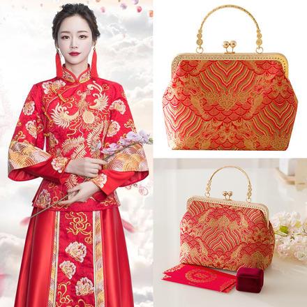 中国风祥云金丝刺绣手提包包新娘婚包