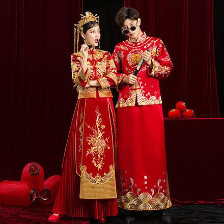 中式红色绣花男士礼服