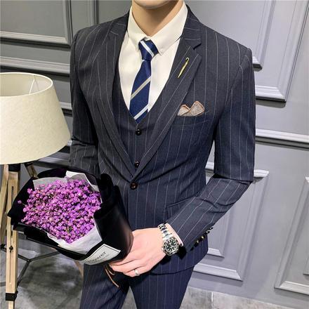 【送衬衫领带领结】藏青修身一粒扣新郎结婚三件套西服套装伴郎装