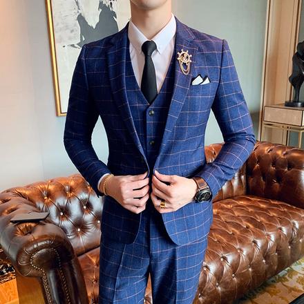 【送领结领带】男士经典格纹西服套装