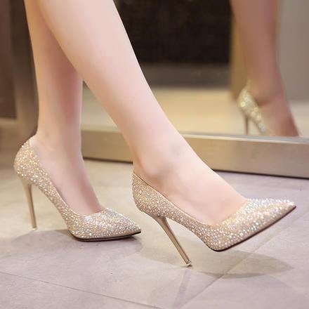 2种跟高 闪闪水晶鞋细跟银河送58体验金满钻新娘鞋