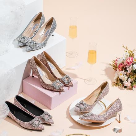 平时可穿方扣亮片高跟鞋婚鞋百搭注册送35元的体验金