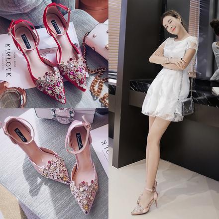 网红明星薇娅同款 2色可选水钻一字带细跟婚鞋