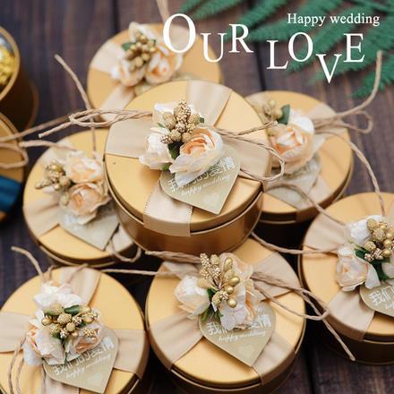 欧式金色花朵喜糖盒