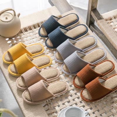 清新色彩 耐磨防臭PVC鞋底纯色亚麻情侣室内拖鞋