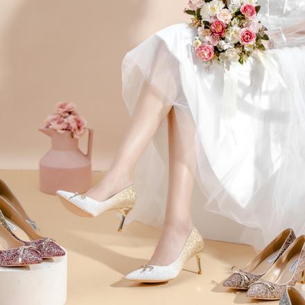 多种跟高 温婉女神范蝴蝶结渐变亮片水晶婚鞋