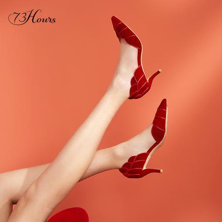 73Hours女鞋蔷薇少女春夏婚鞋中式秀禾白菜注册必送体验金伴娘新娘鞋