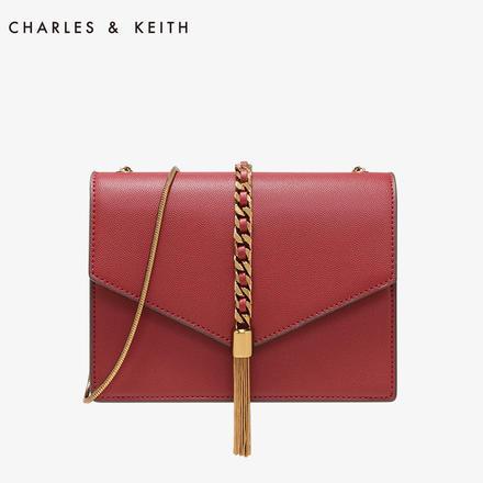 CHARLES&KEITH  小ck流苏单肩链条小方包婚包女