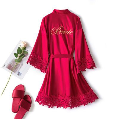 新娘伴娘蕾丝冰丝睡衣派对拍照闺蜜袍