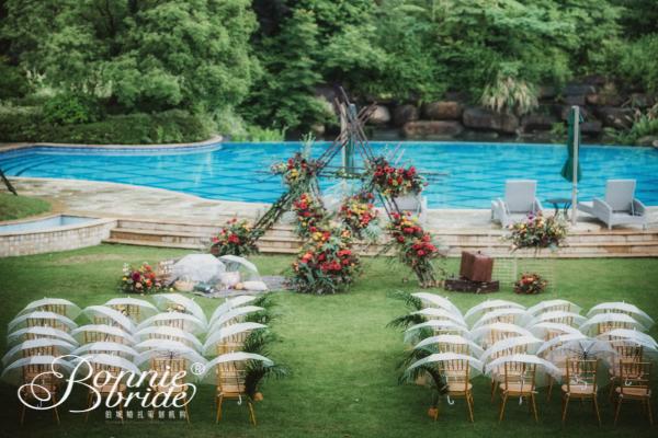 户外婚礼泳池
