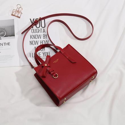 复古简约酒红色时尚斜跨手提包婚包