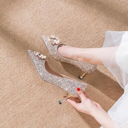 新款亮片公主水晶单鞋猫跟下载app送36元彩金新娘结婚鞋