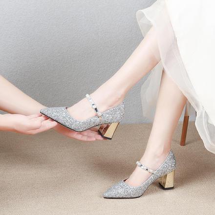 粗跟婚鞋水晶注册送35元的体验金新娘鞋  一字带珍珠高跟鞋小清新法式单鞋