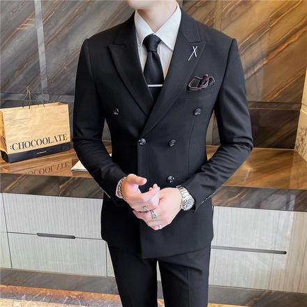 【送衬衫领结领带】韩版新郎结婚修身双排扣西装套装