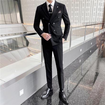 【送衬衫领结领带】新款男士双排扣条纹修身婚礼西装套装