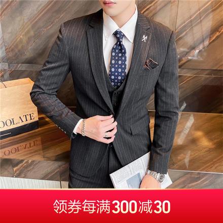 【送衬衫领结领带】新款韩版经典条纹男士修身婚礼西服套装