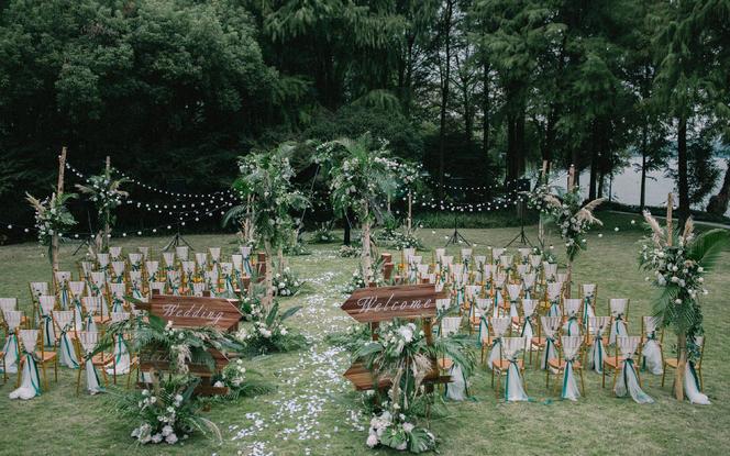 麦瑞婚礼 | 白绿小清新户外草坪婚礼
