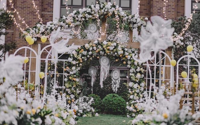 【首善】小清新白绿草坪婚礼/温馨大气/包含四大