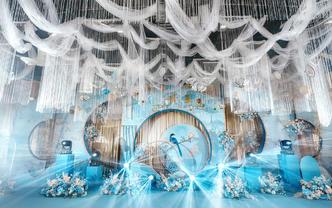 蓝色简约新中式婚礼超流行