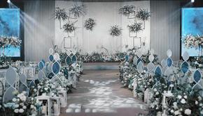 【小清新蓝灰色】性价比超高的室内婚礼