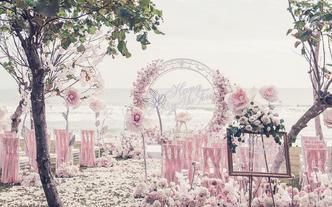 【一价全包】三亚海边草坪婚礼布置+晚宴+四大金刚