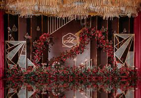 【梦梵婚礼】萧山雷迪森铂丽厅 创意红金线条婚礼