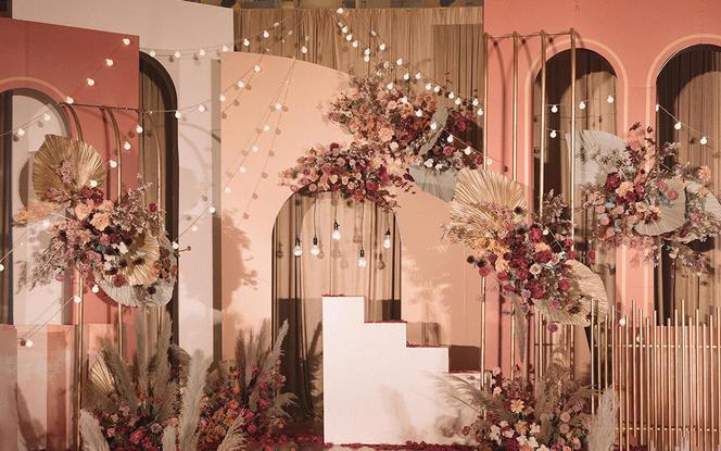 【喜上婚礼】脏橘色系列婚礼,一价全包含四大灯光