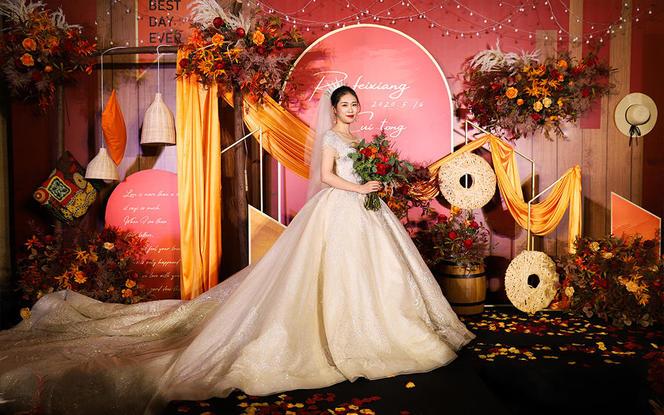 〖晶莹婚礼〗复古西柚色  创意高性价比婚礼