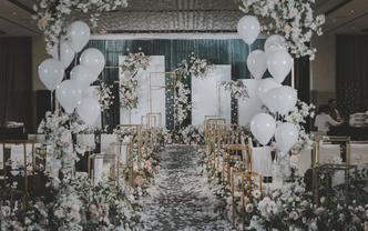 【灰蓝色简约婚礼】气球造型 饱满花艺 含资深四大