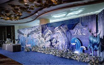 喜来登5楼华威厅轻奢侈梦幻海洋风蓝白色羽毛水晶感
