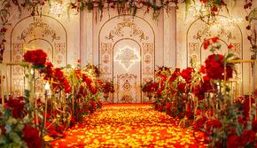 【火爆热销款】几何红玫——鎏金镶红色婚礼