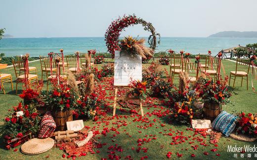三亚草坪婚礼 | 复古红色森系