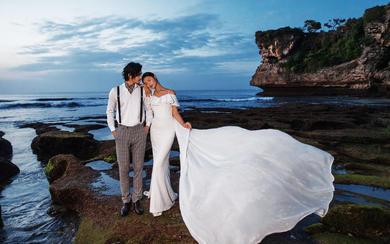 爱旅拍巴厘岛•原创作品•巴浪安沙滩白礼服