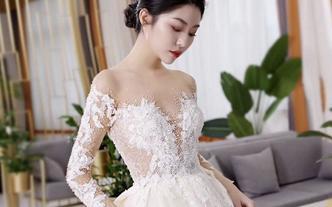 【超值租赁】2件套 高端奢华拖尾手工婚纱+晚礼服