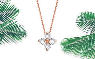 「情人节限量项链」简约气质小轻奢玫瑰金显钻石项链