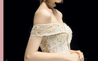 緞面一字肩 超大拖尾婚紗